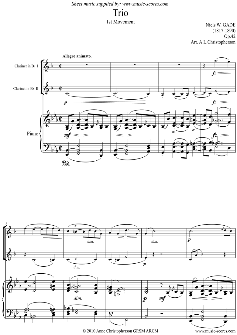 Front page of Op.42: Piano Trio: 1st mt: 2 Clarinets and Piano sheet music