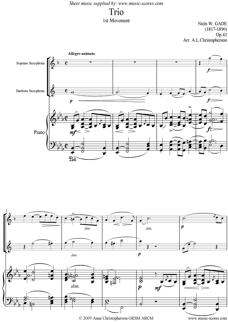 Front page of Op.42: Piano Trio: 1st mt: Sop Sax, Bari Sax, Pno sheet music