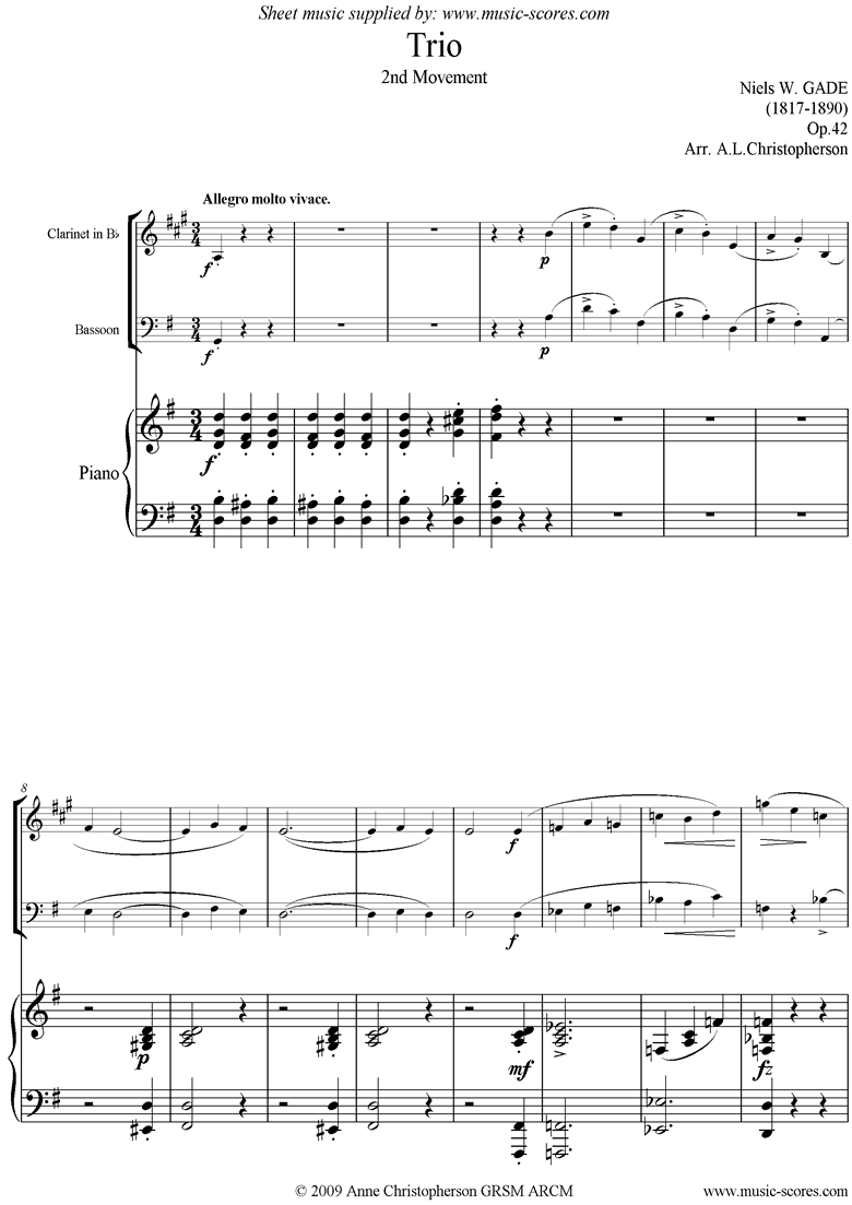 Front page of Op.42: Piano Trio: 2nd mvt: Clari, Bassn, Pno sheet music