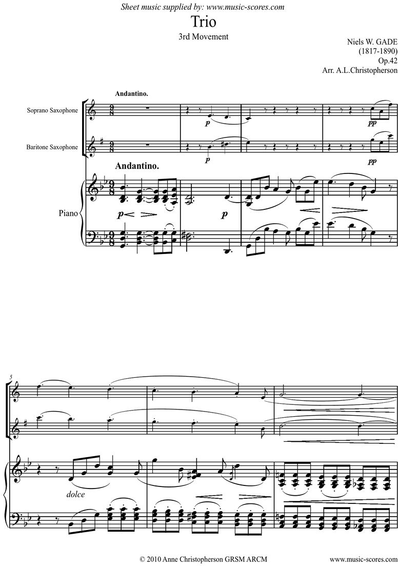 Front page of Op.42: Piano Trio: 3rd mt: Sop Sax, Bari Sax, Pno sheet music