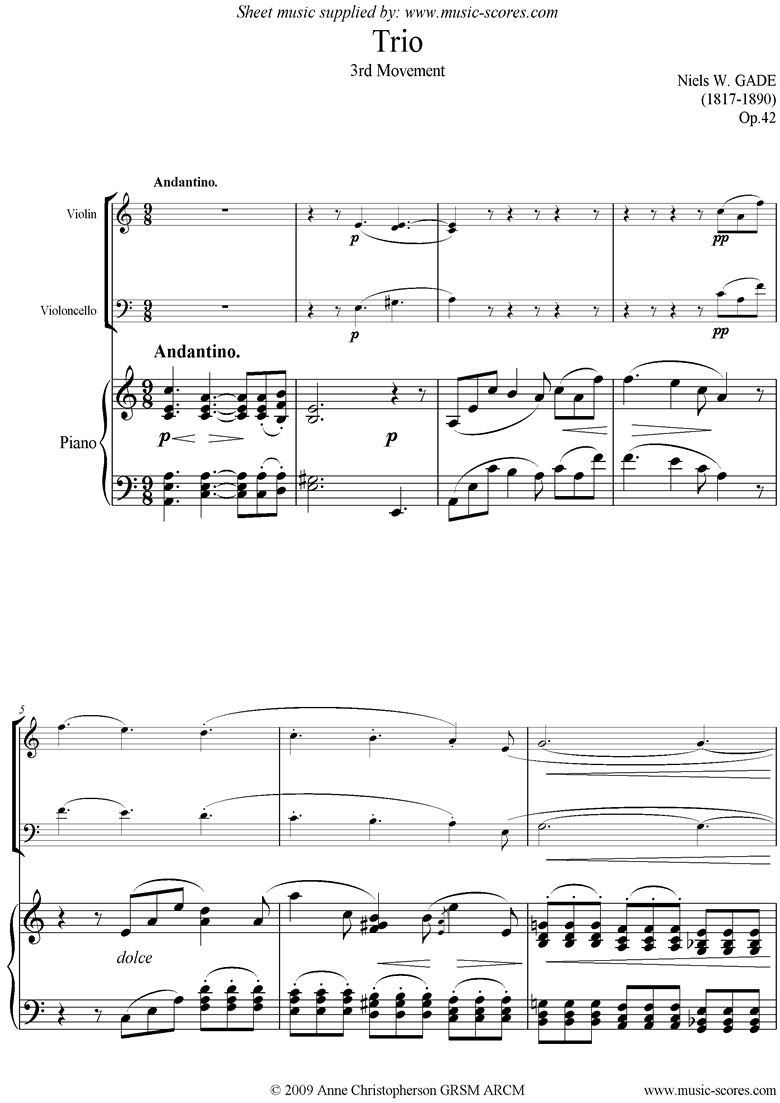 Front page of Op.42: Piano Trio: 3rd mt: Violin, Cello and Piano sheet music