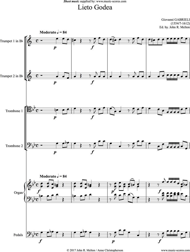Lieto Godea: Brass 4 and Organ by Gabrieli