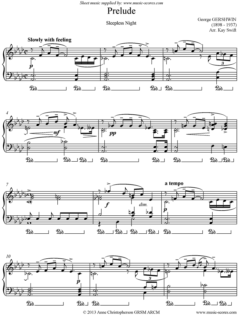 Front page of Prelude: Sleepless Night sheet music