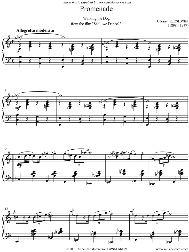 Front page of Promenade: Walking the Dog: Piano sheet music