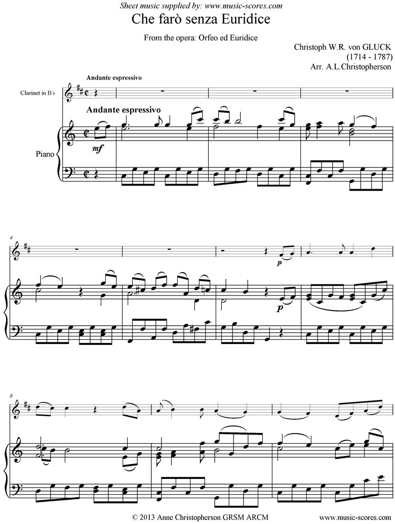 Front page of Orfeo ed Euredice: Che Faro Senza Euridice: Clarinet and Piano, harder sheet music