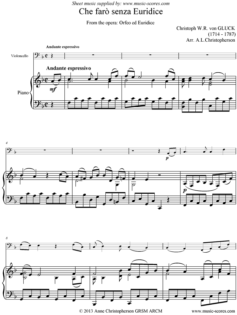 Front page of Orfeo ed Euredice: Che Faro Senza Euridice: Cello and Piano, low version sheet music