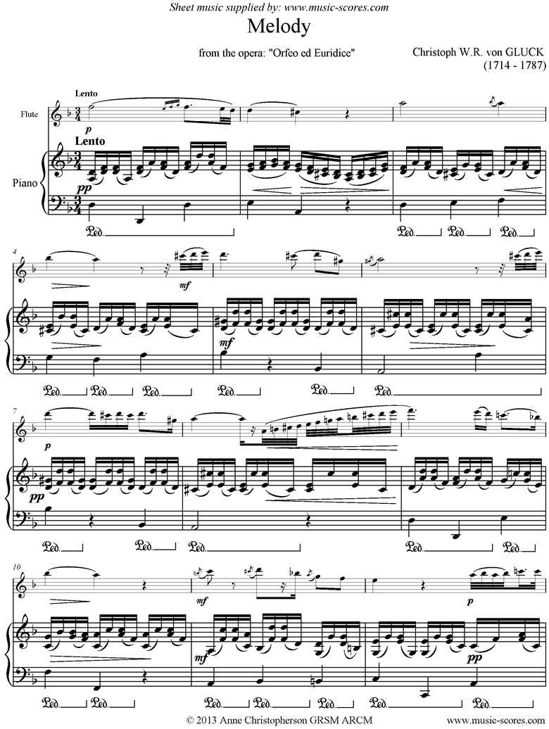 Front page of Orfeo ed Euredice: Melody: Flute sheet music