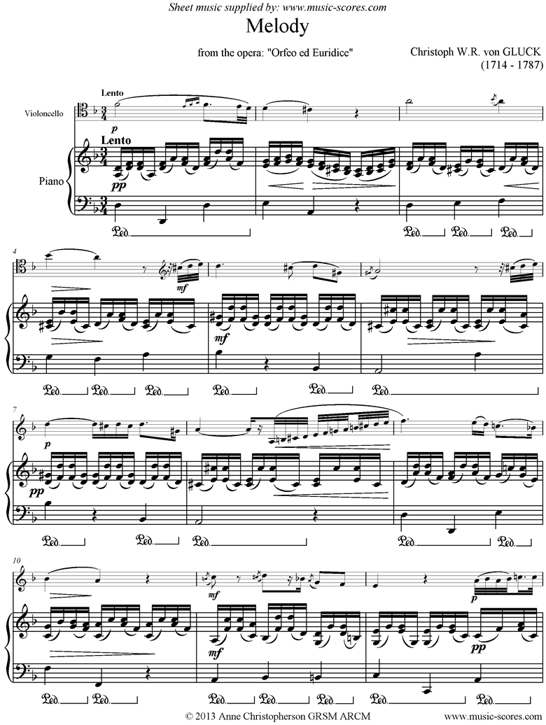 Front page of Orfeo ed Euredice: Melody: Cello, higher sheet music