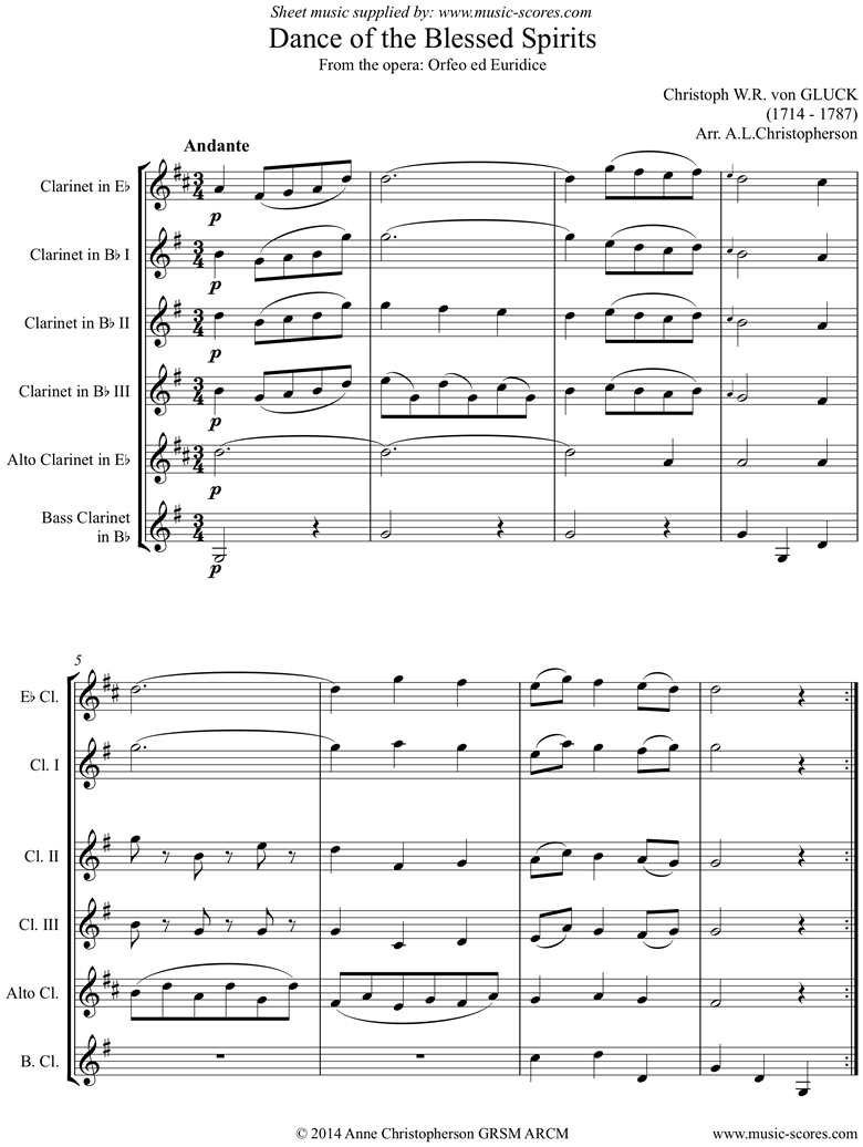 Front page of Orfeo ed Euredice: Melody: Clarinet 5: Eb, 3 Bb, Alto, Bass Clarinets sheet music