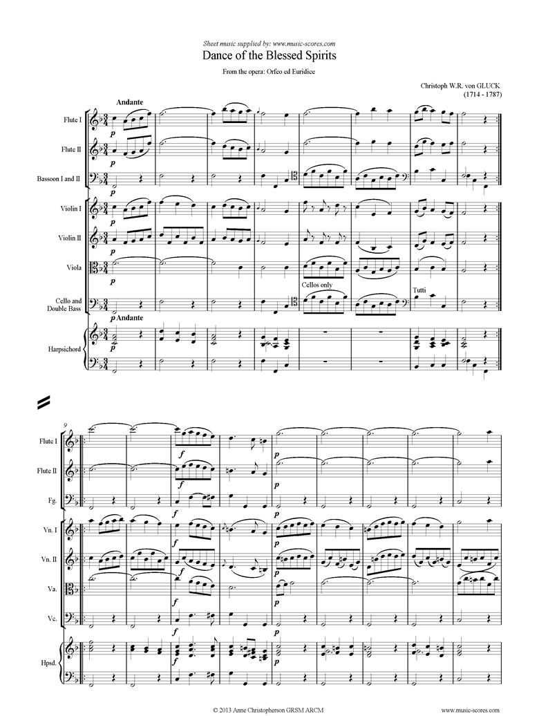 Front page of Orfeo ed Euredice: Dance of the Blessed Spirits: Mixed ensemble sheet music