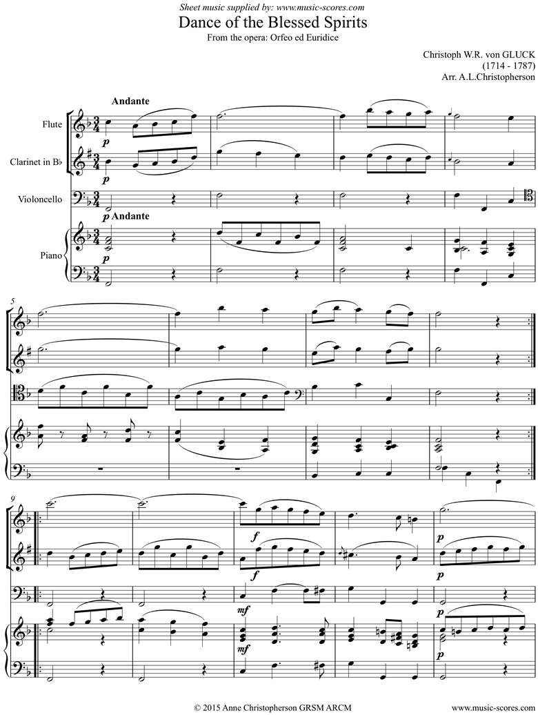 Front page of Orfeo ed Euredice: Dance of the Blessed Spirits: Flute, Clarinet, Cello, Piano sheet music