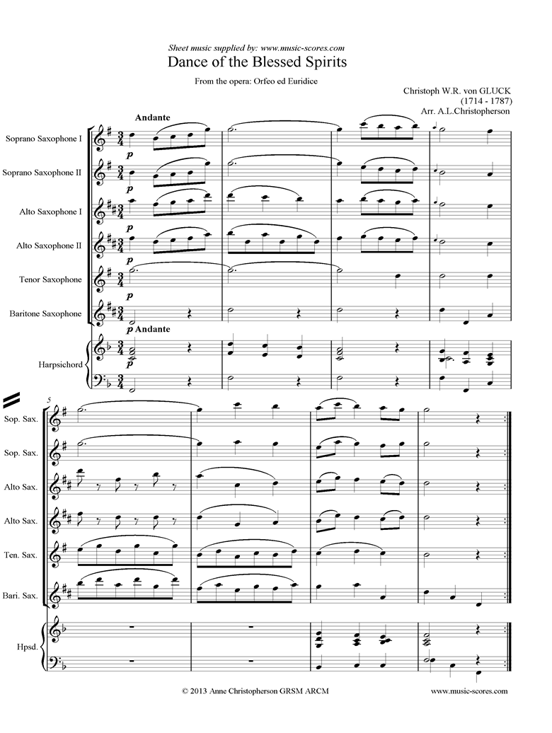 Front page of Orfeo ed Euredice: Dance of the Blessed Spirits: Saxes, Harpsichord sheet music