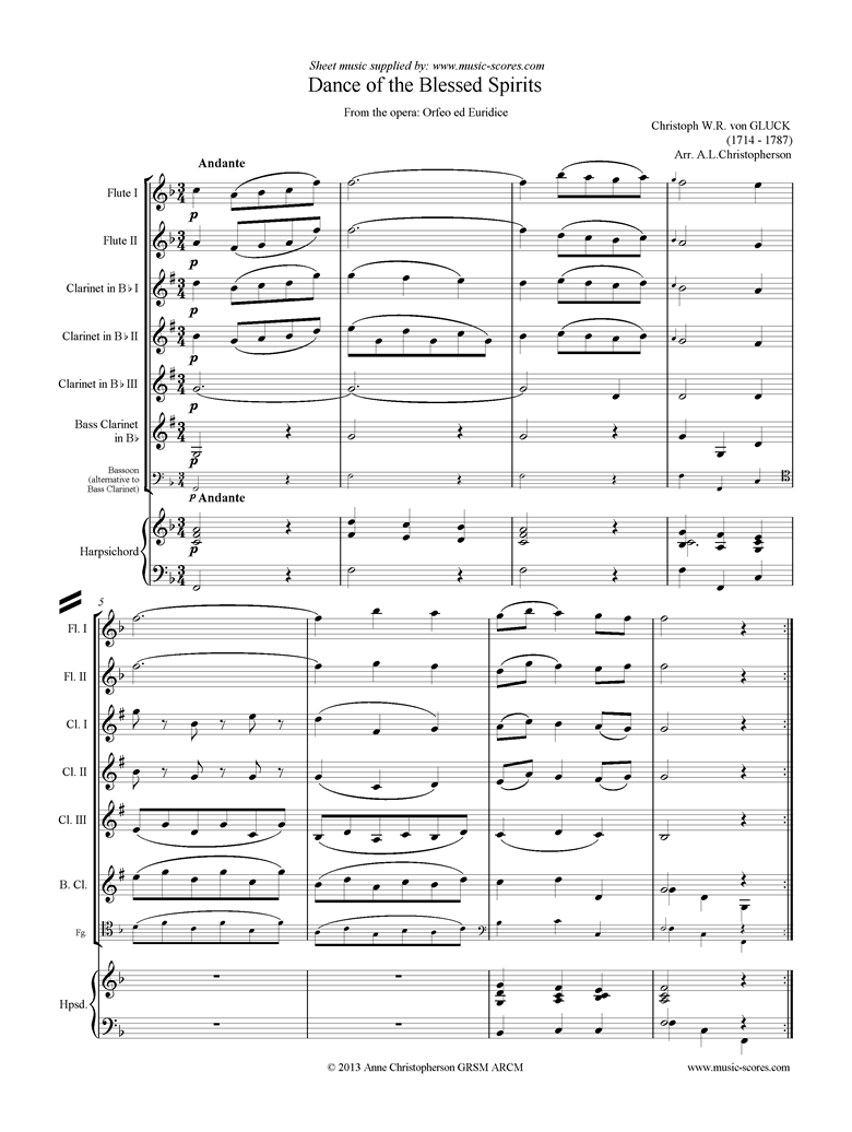 Front page of Orfeo ed Euredice: Dance of the Blessed Spirits: Wind, Harpsichord sheet music