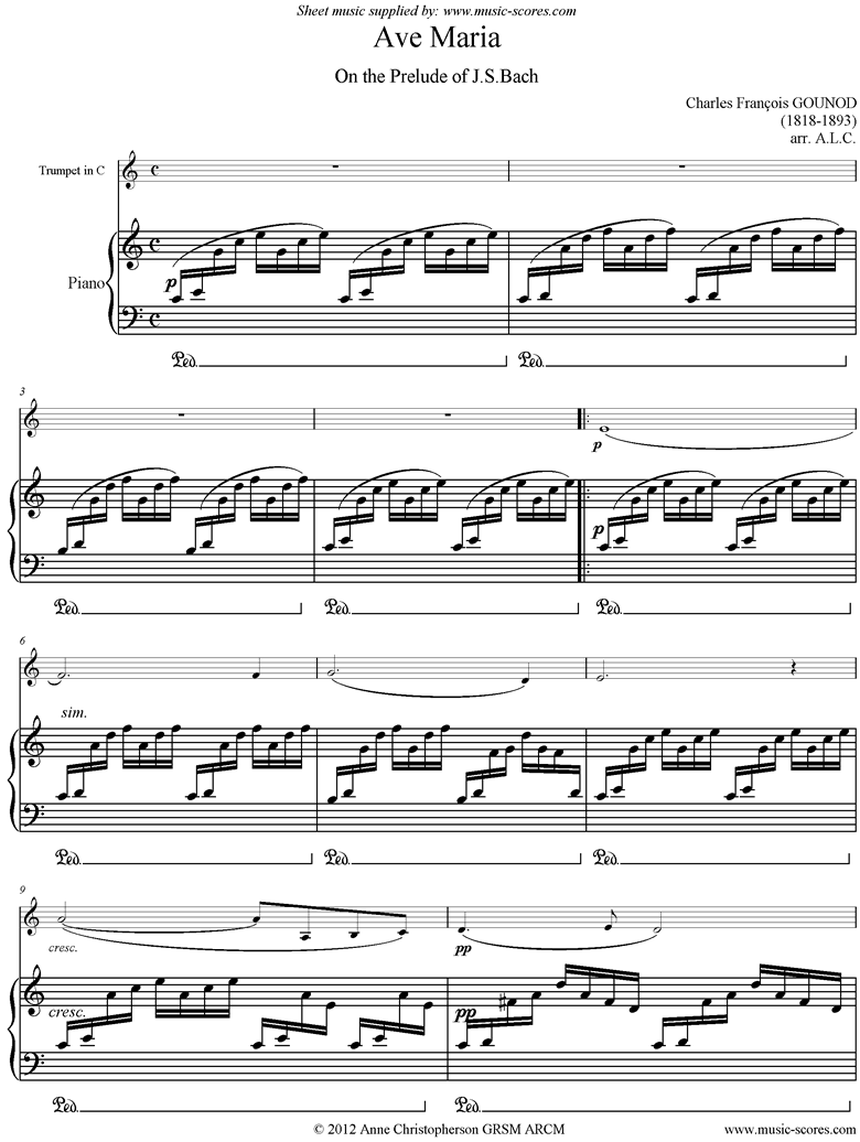Front page of Ave Maria: C Trumpet sheet music