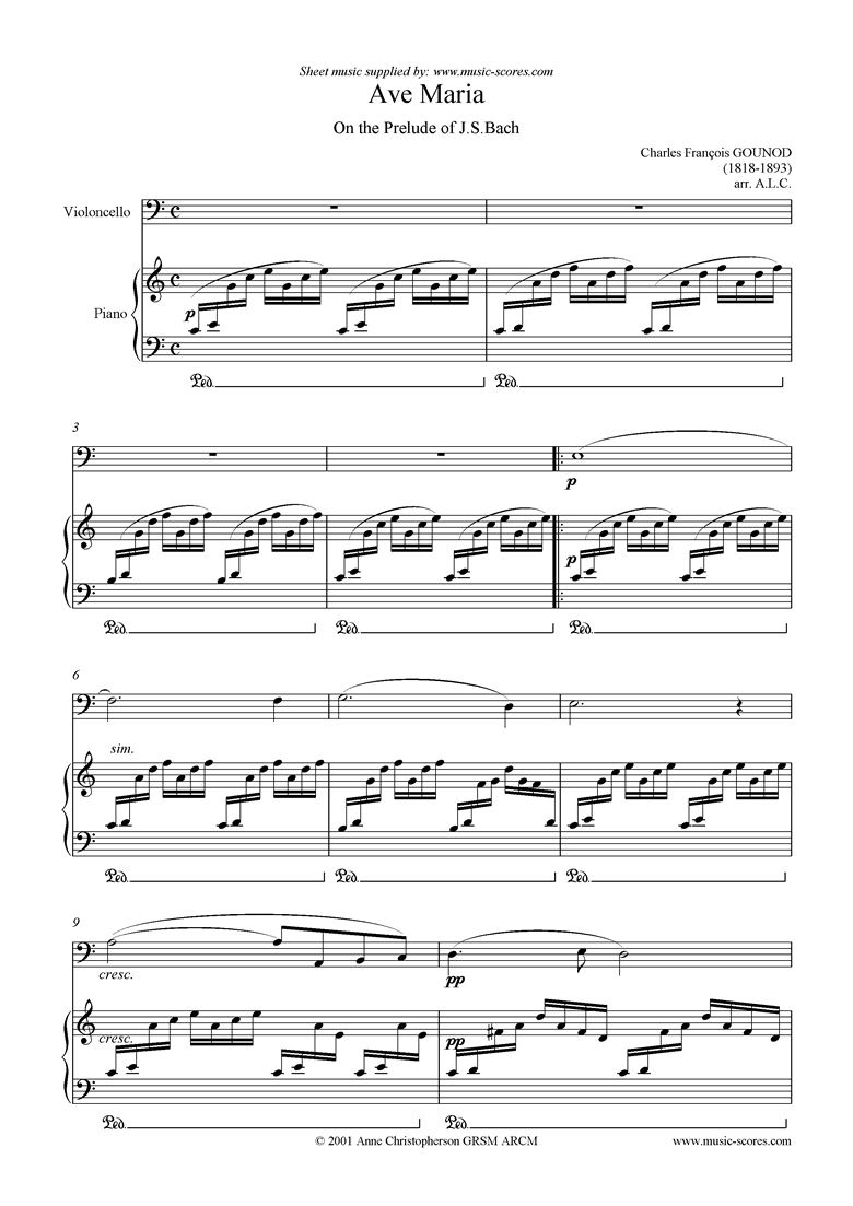 Front page of Ave Maria: Cello sheet music