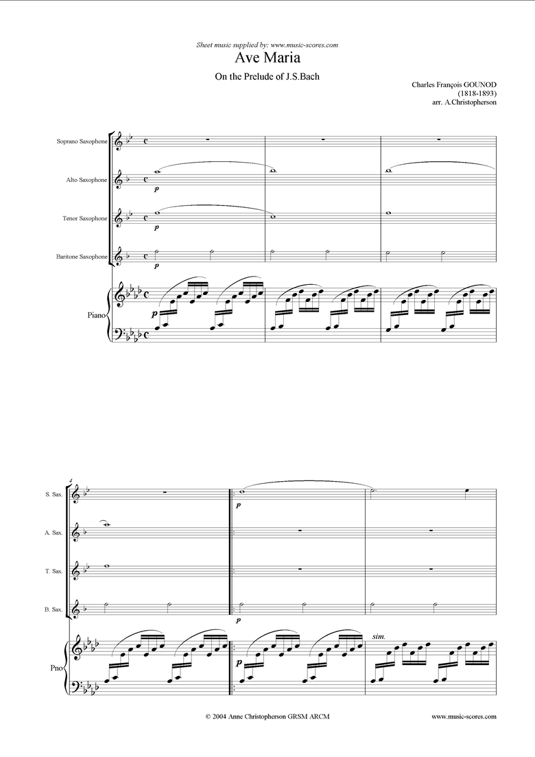 Front page of Ave Maria: Soprano, Alto, Tenor, Baritone, piano sheet music