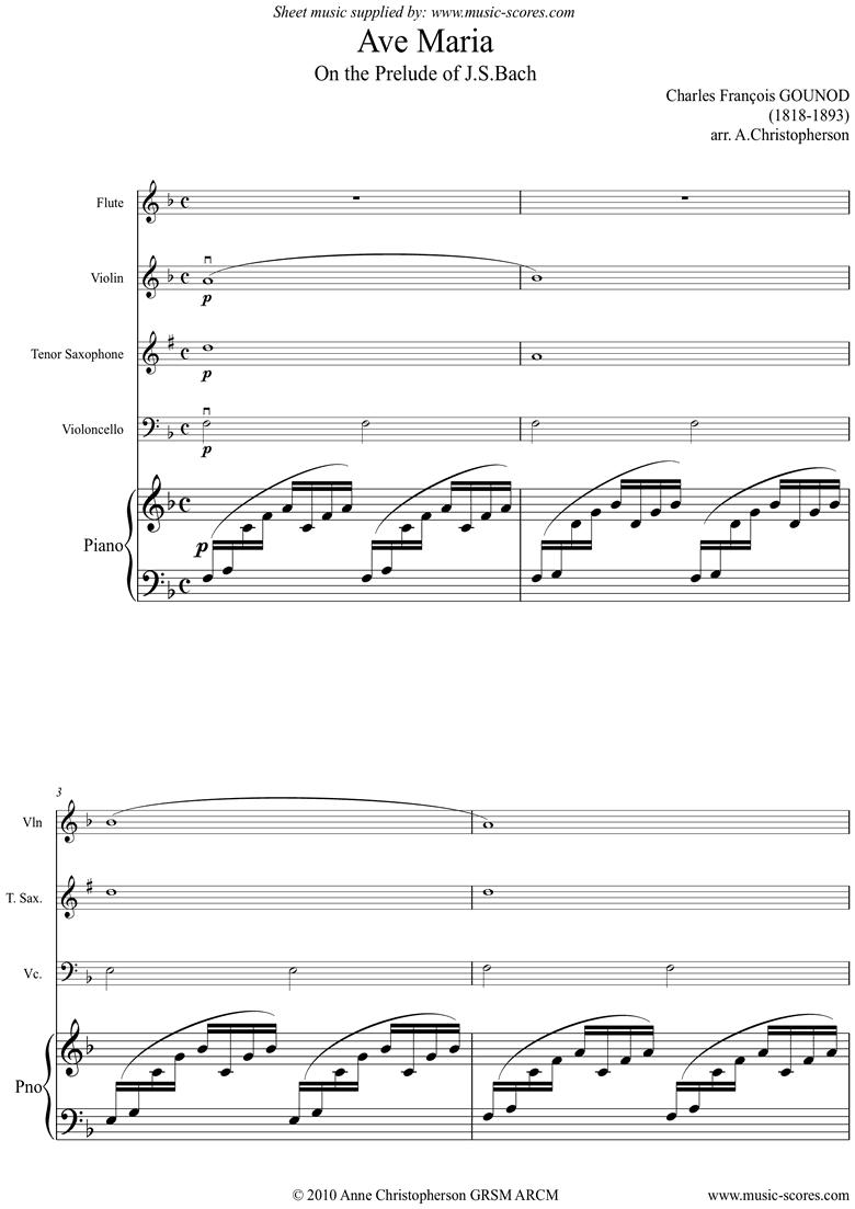 Ave Maria: Flute, Violin, Tenor Sax, Ea Vc: F maj by Gounod