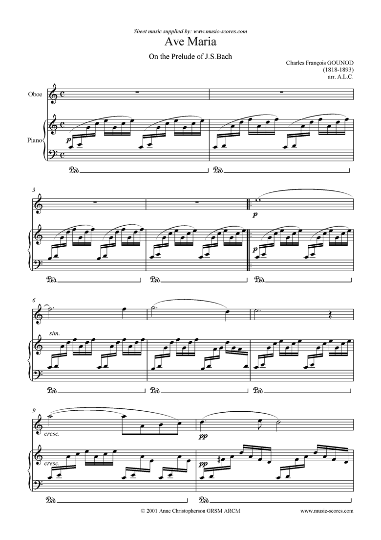 Front page of Ave Maria: Oboe sheet music