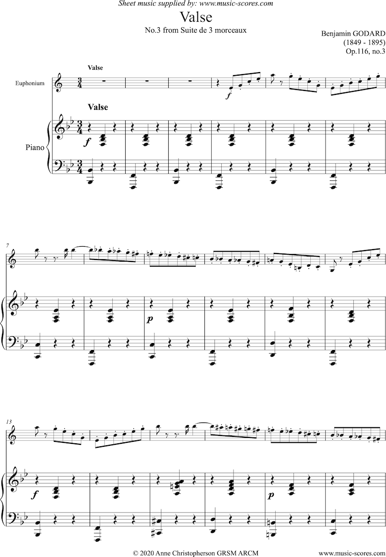 Front page of Op.116c Valse: Euphonium and Piano sheet music