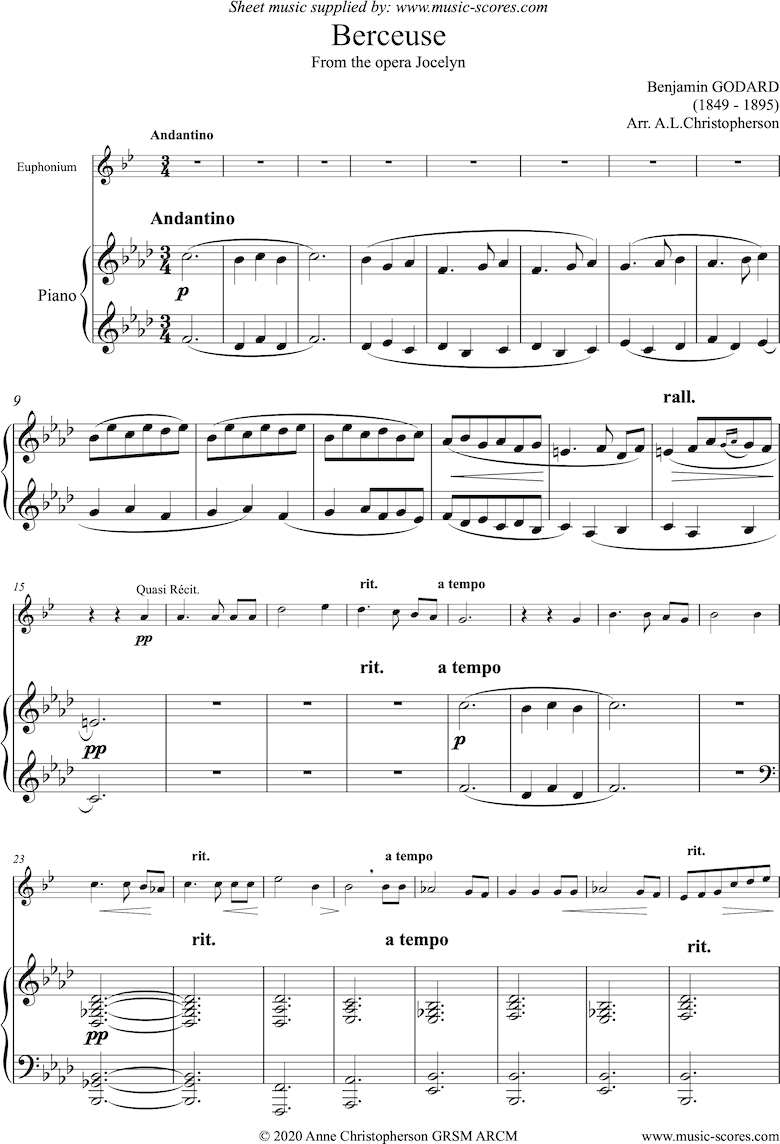 Front page of Jocelyn: Berceuse: Euphonium and Piano sheet music