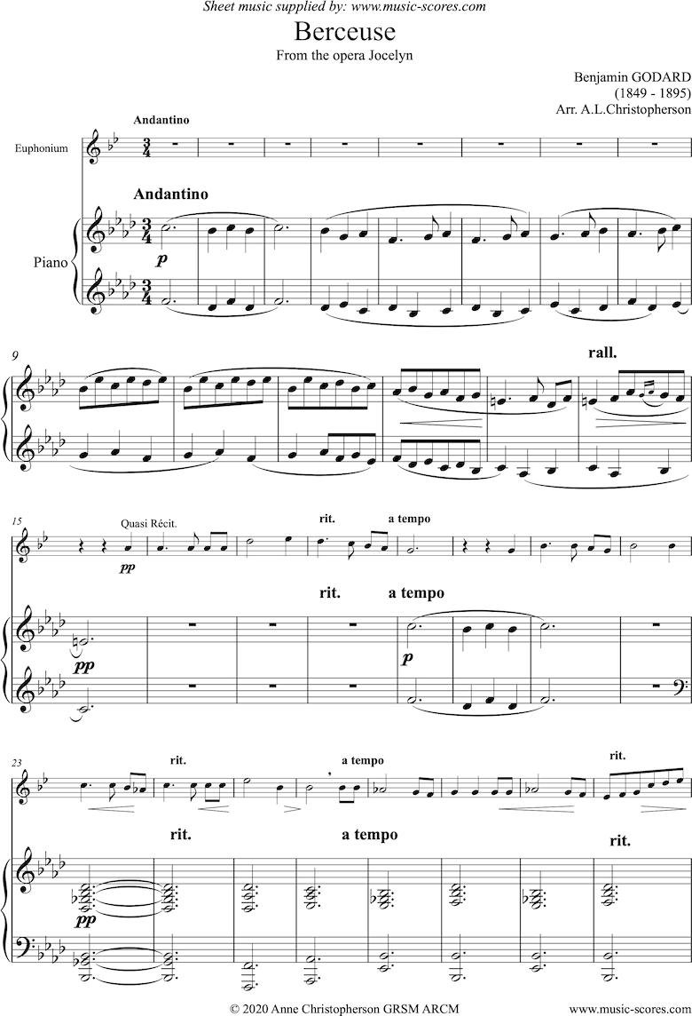 Jocelyn: Berceuse: Euphonium and Piano by Godard