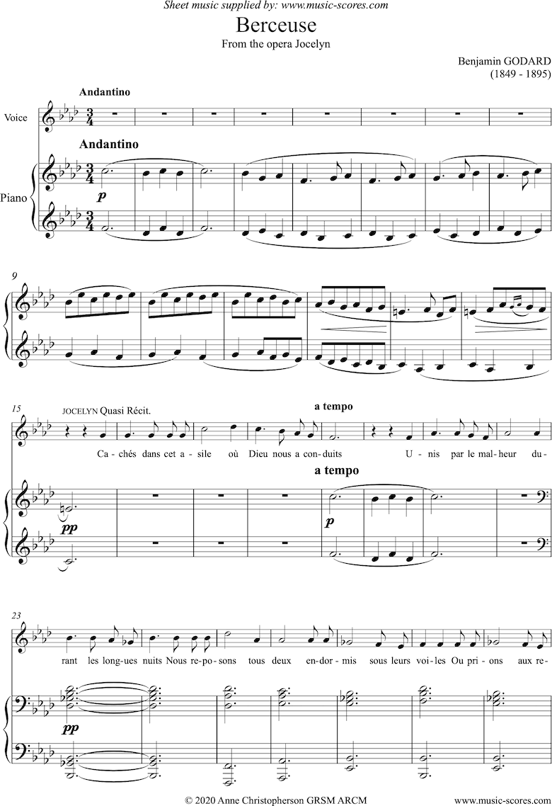 Front page of Jocelyn: Berceuse: Voice and Piano - F minor sheet music