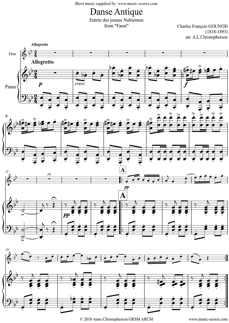Front page of Faust: Danse Antique: Flute sheet music