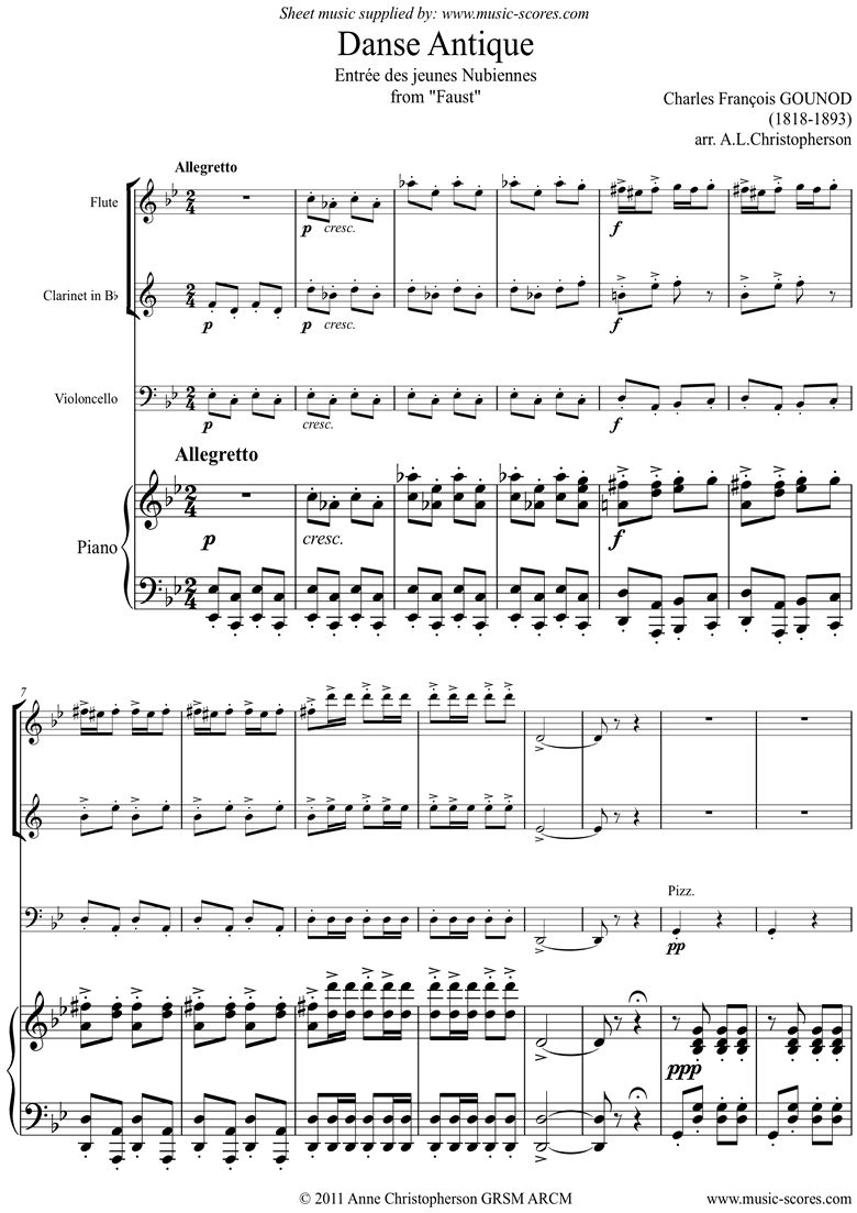 Front page of Faust: Danse Antique: Flute, Clarinet, Cello Piano sheet music