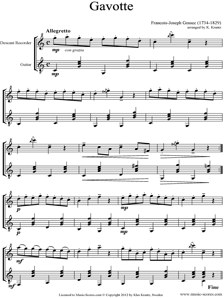 Front page of Gavotte: Descant Recorder, Guitar sheet music