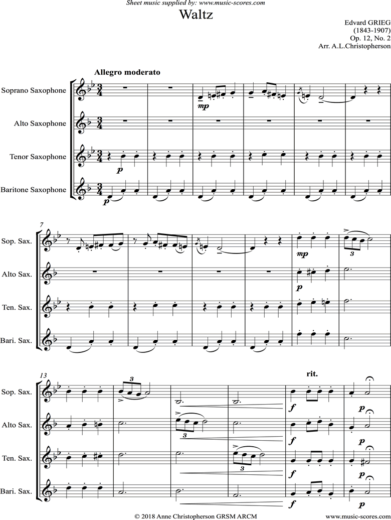 Front page of Op.12, No.2: Waltz: Sax Quartet sheet music