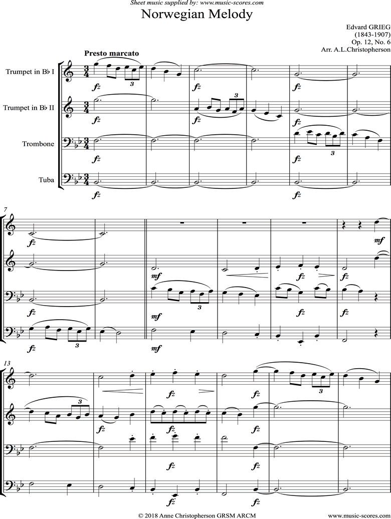 Front page of Op.12, No.6: Norwegian Melody: Brass Quartet sheet music