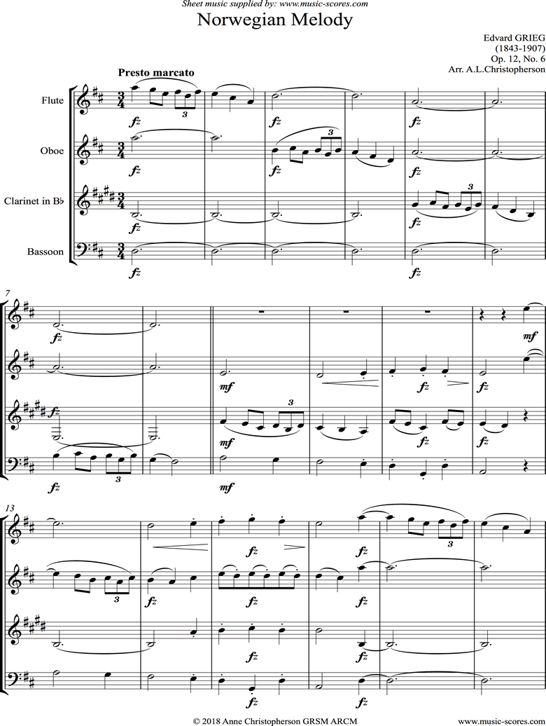 Front page of Op.12, No.6: Norwegian Melody: Wind Quartet sheet music