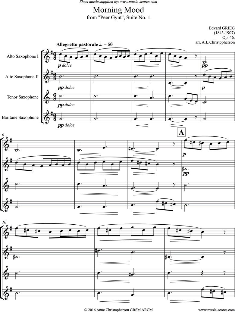 Front page of Op.46: Morning Mood: Peer Gynt No.1: Short: Sax Quartet sheet music