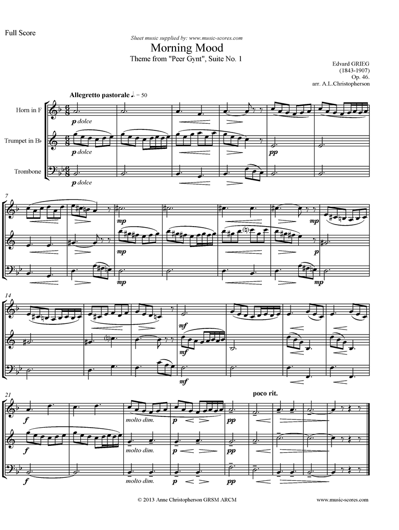 Op.46: Morning Mood: Peer Gynt No.1: Short: French Horn, Trumpet, Trombone by Grieg