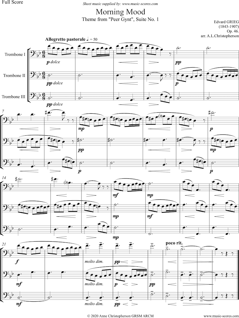 Front page of Op.46: Morning Mood: Peer Gynt No.1: Short: 3 Trombones sheet music