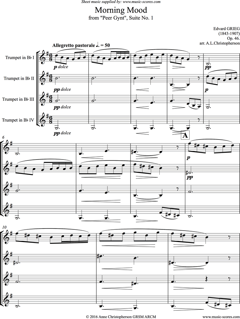 Front page of Op.46: Morning Mood: Peer Gynt No.1: 4 Trumpets sheet music