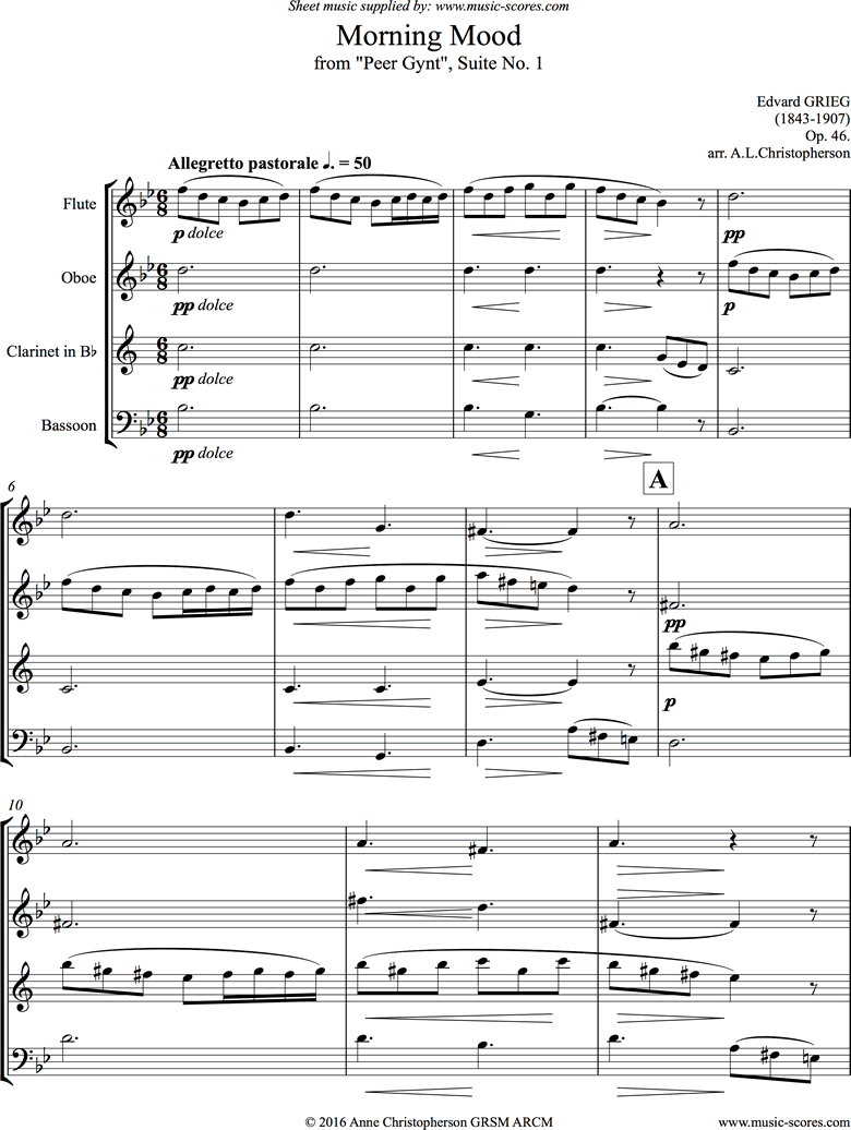 Front page of Op.46: Morning Mood: Peer Gynt No.1: Wind Quartet sheet music