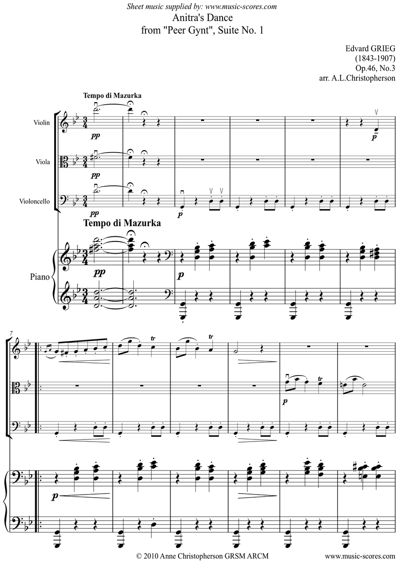 Front page of Op.46 No.3: Anitras Dance: Peer Gynt: Vn Va Vc Pno sheet music