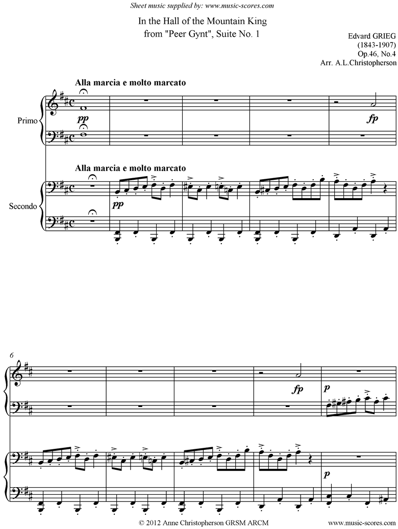 Front page of Op.46: Mountain King: Peer Gynt No.1: Piano Duet sheet music