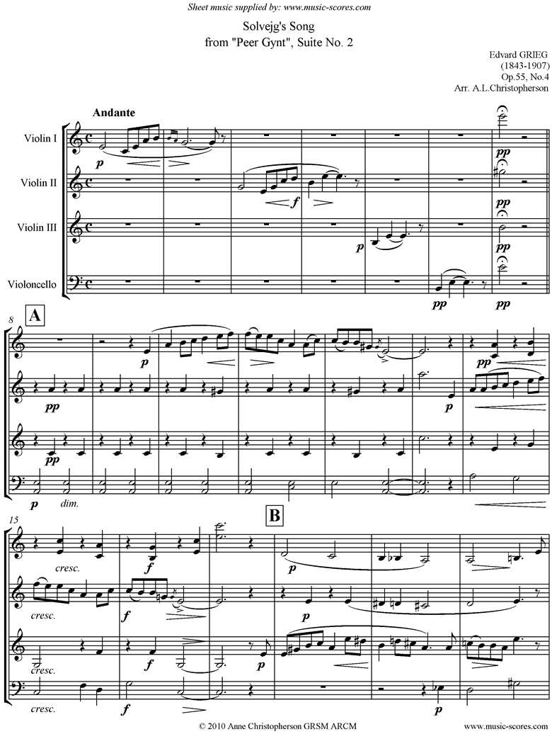 Front page of Op.55: Solvejgs Song: Peer Gynt No.4: 3vns vc sheet music