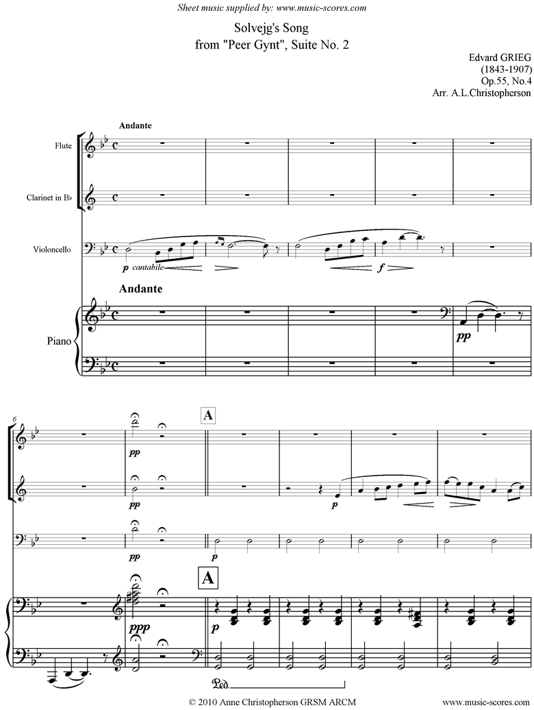Front page of Op.55: Solvejgs Song: Peer Gynt No.4: Fl Cl Vc Pno sheet music