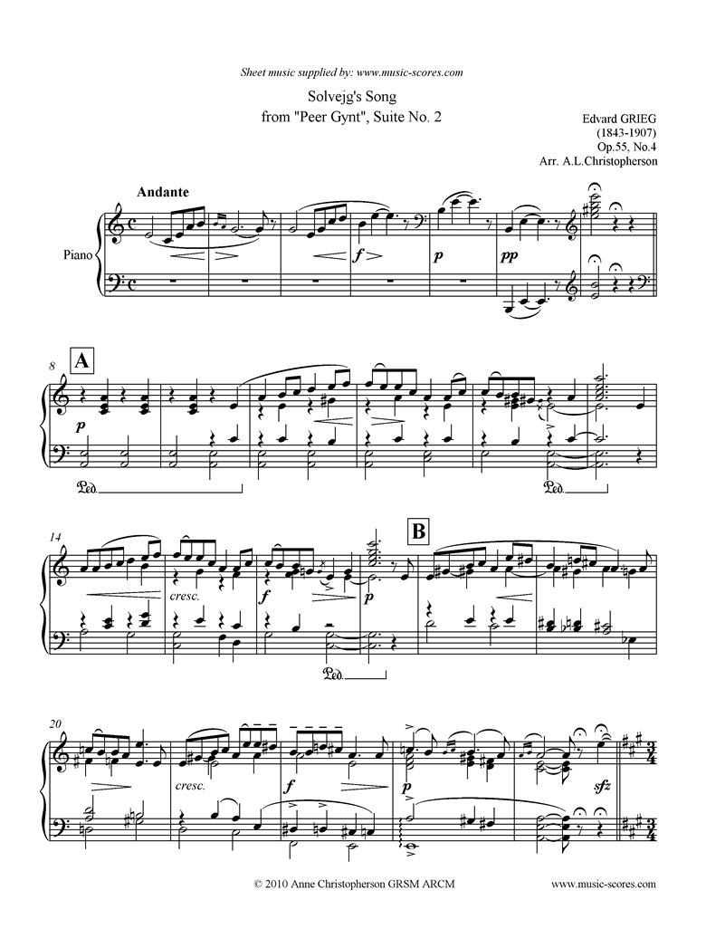 Front page of Op.55: Solvejgs Song: Peer Gynt No.4: Piano sheet music