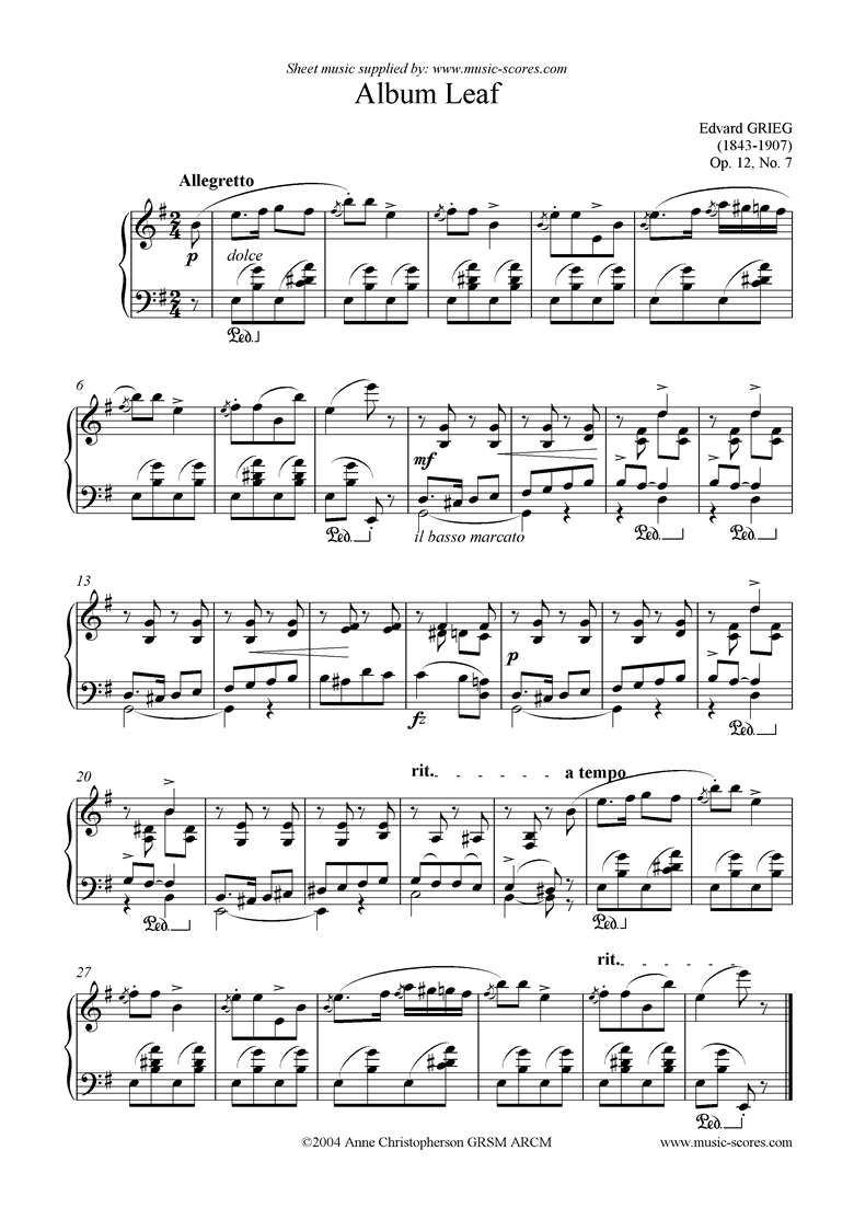 Front page of Op.12, No.7: Album Leaf sheet music