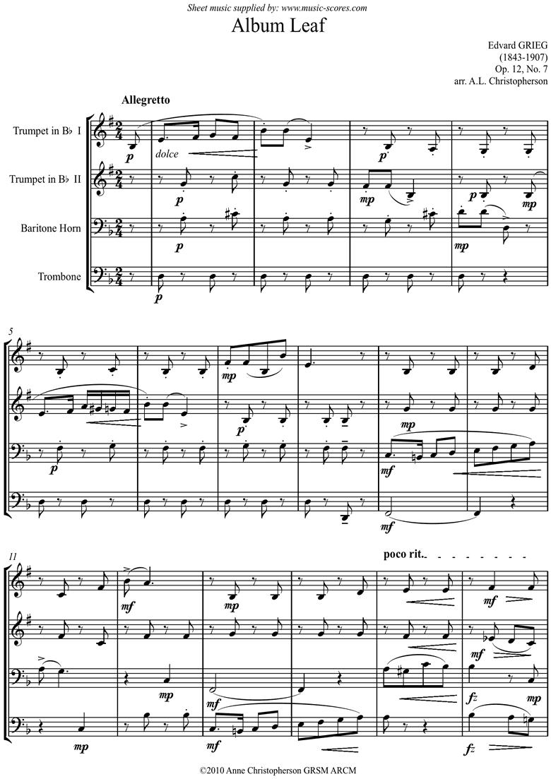 Op.12, No.7: Album Leaf. 2 Tpts, Tbn, Bari Horn by Grieg