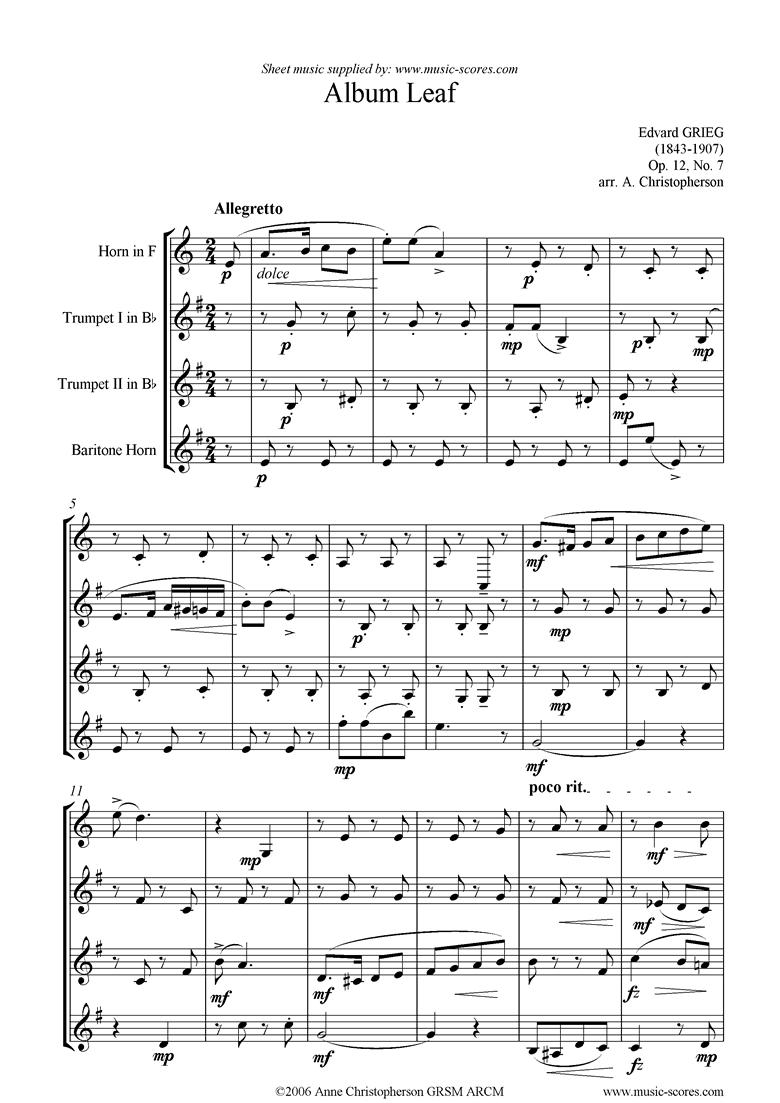 Op.12, No.7: Album Leaf. Horn, 2 Tpts, Bari Horn by Grieg