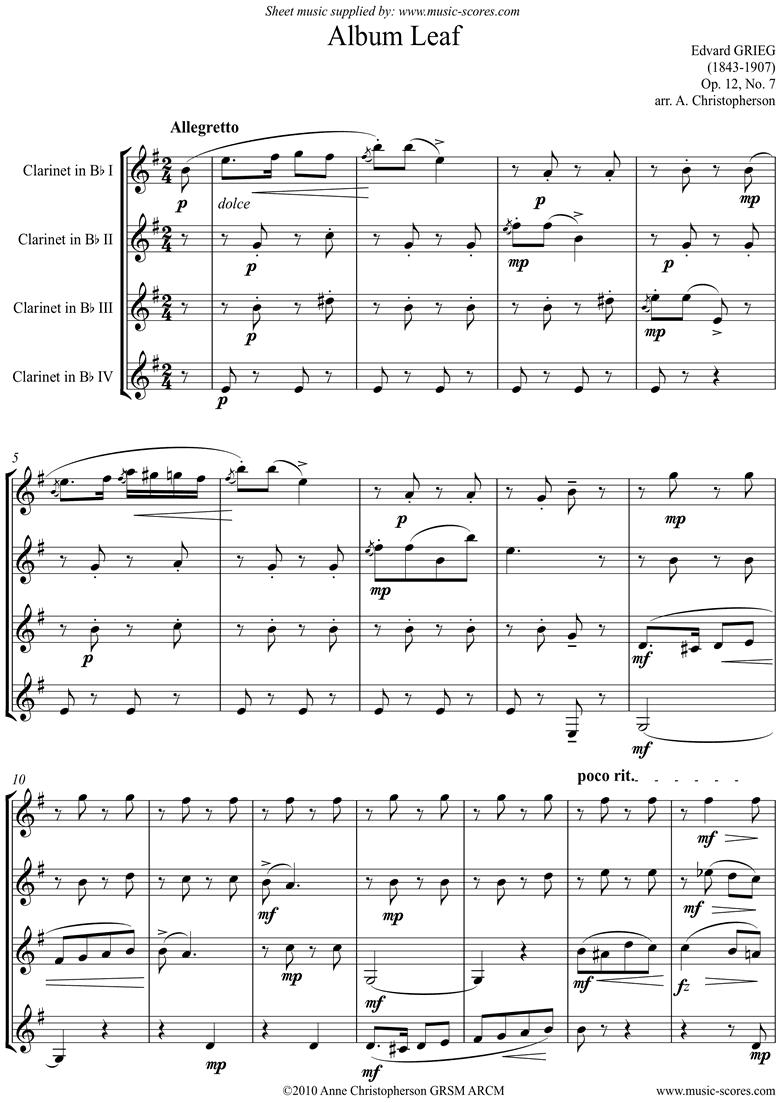 Op.12, No.7: Album Leaf. 4 Clarinets by Grieg