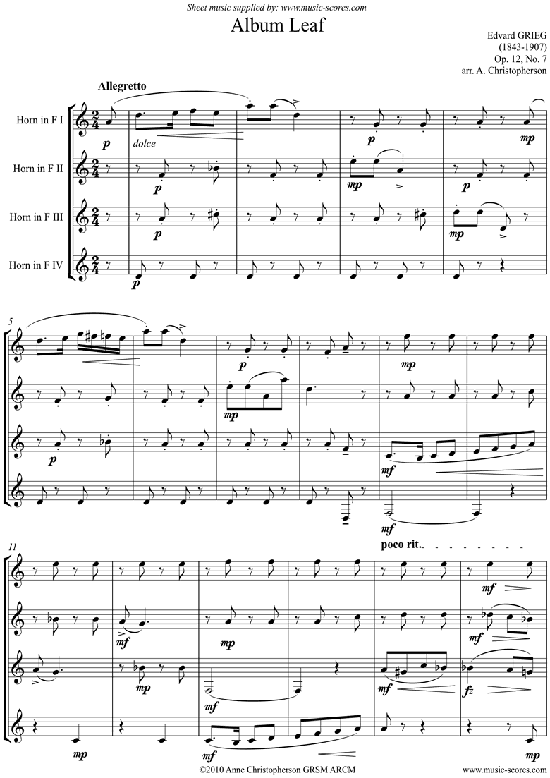 Op.12, No.7: Album Leaf. 4 Horns by Grieg