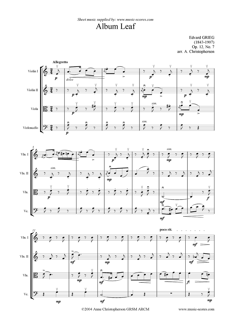 Front page of Op.12, No.7: Album Leaf.  String quartet sheet music