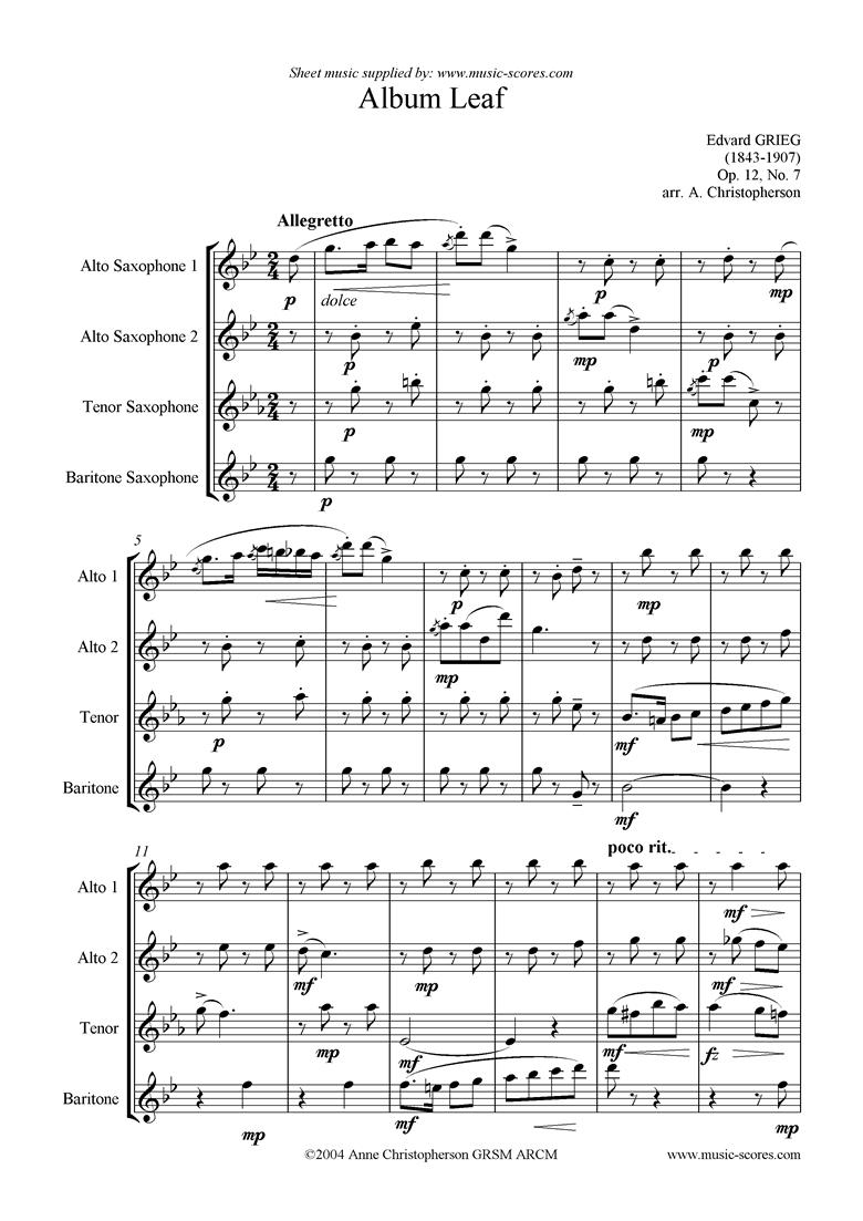Op.12, No.7: Album Leaf. Sax Quartet by Grieg