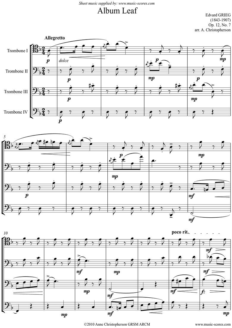 Front page of Op.12, No.7: Album Leaf. 4 Trombones sheet music